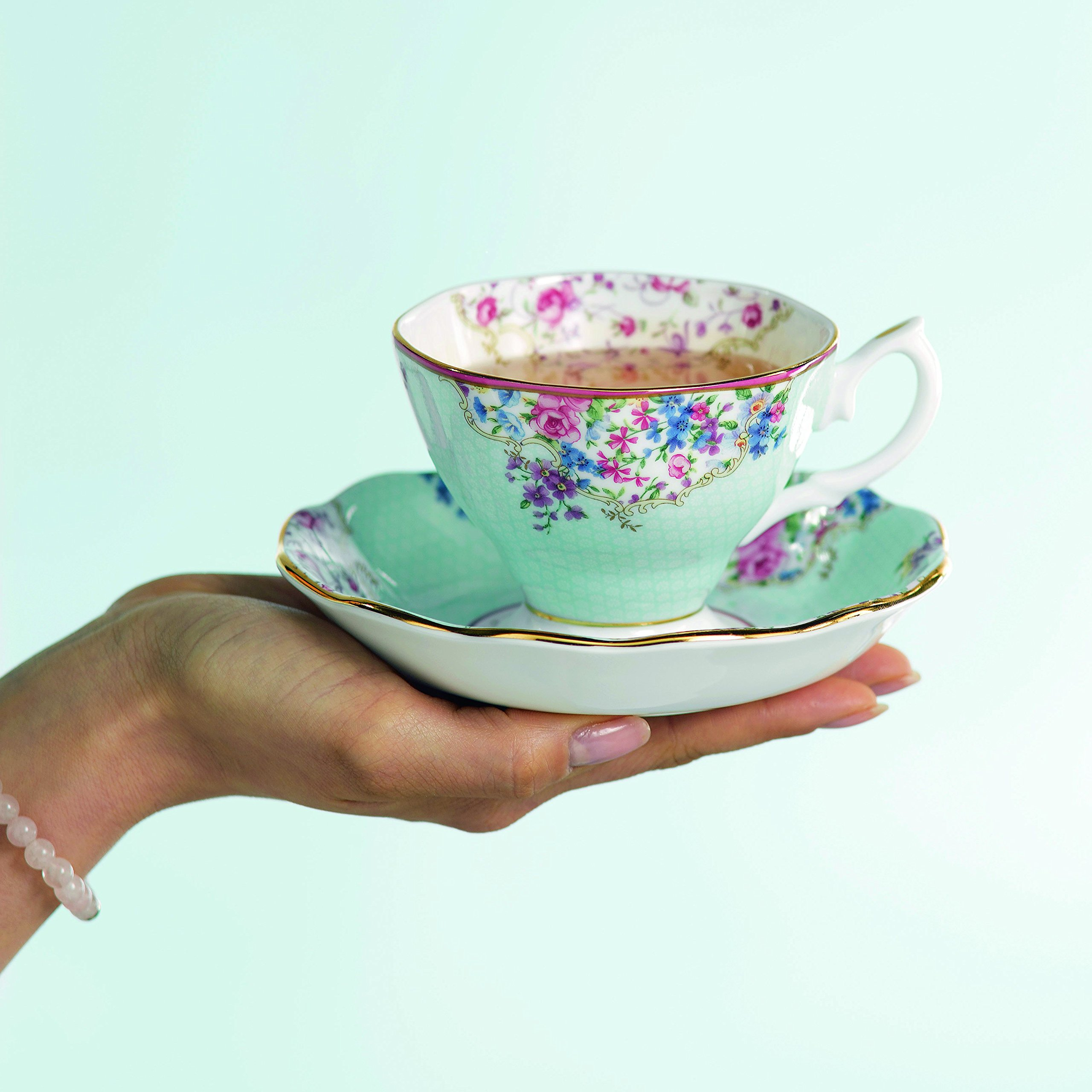 Royal Albert 40002539 Candy Teacup and Saucer Set Set of 4 Multicolor by Royal Albert (Image #4)
