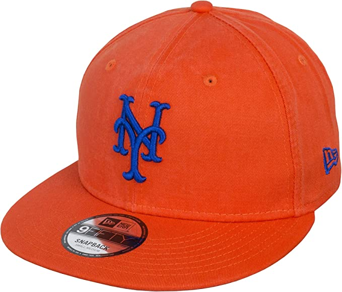 A NEW ERA Gorra 9FIFTY Washed Team York Mets Naranja - M/L: Amazon ...