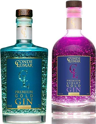 Pack 2 Gins con Oro Para Regalar - Premium Liqueur Gold 23K: Premium Cítrica & Violet Moras -