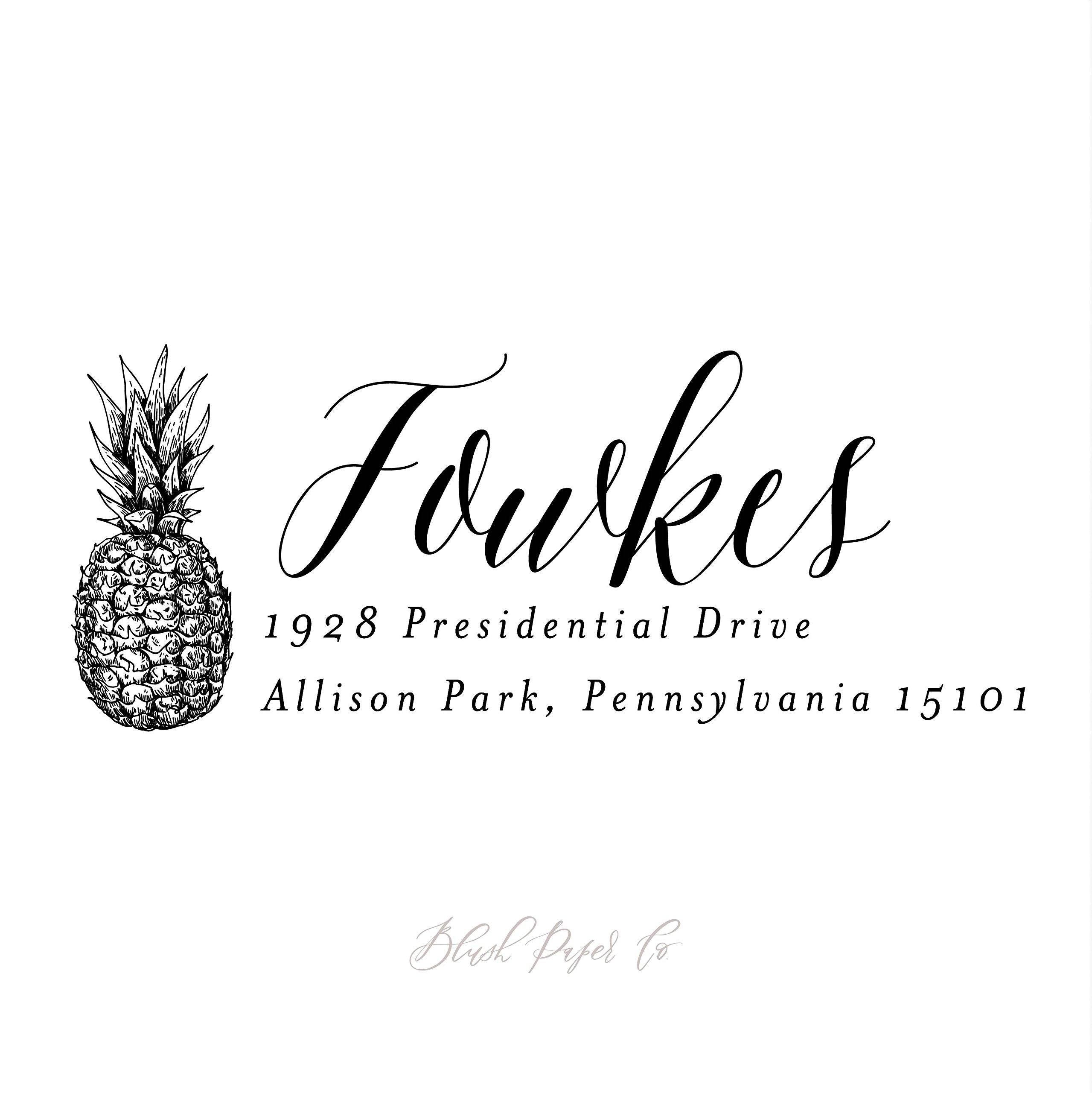 Pineapple Return Address Stamp, Self Inking // 2.75'' x 1''