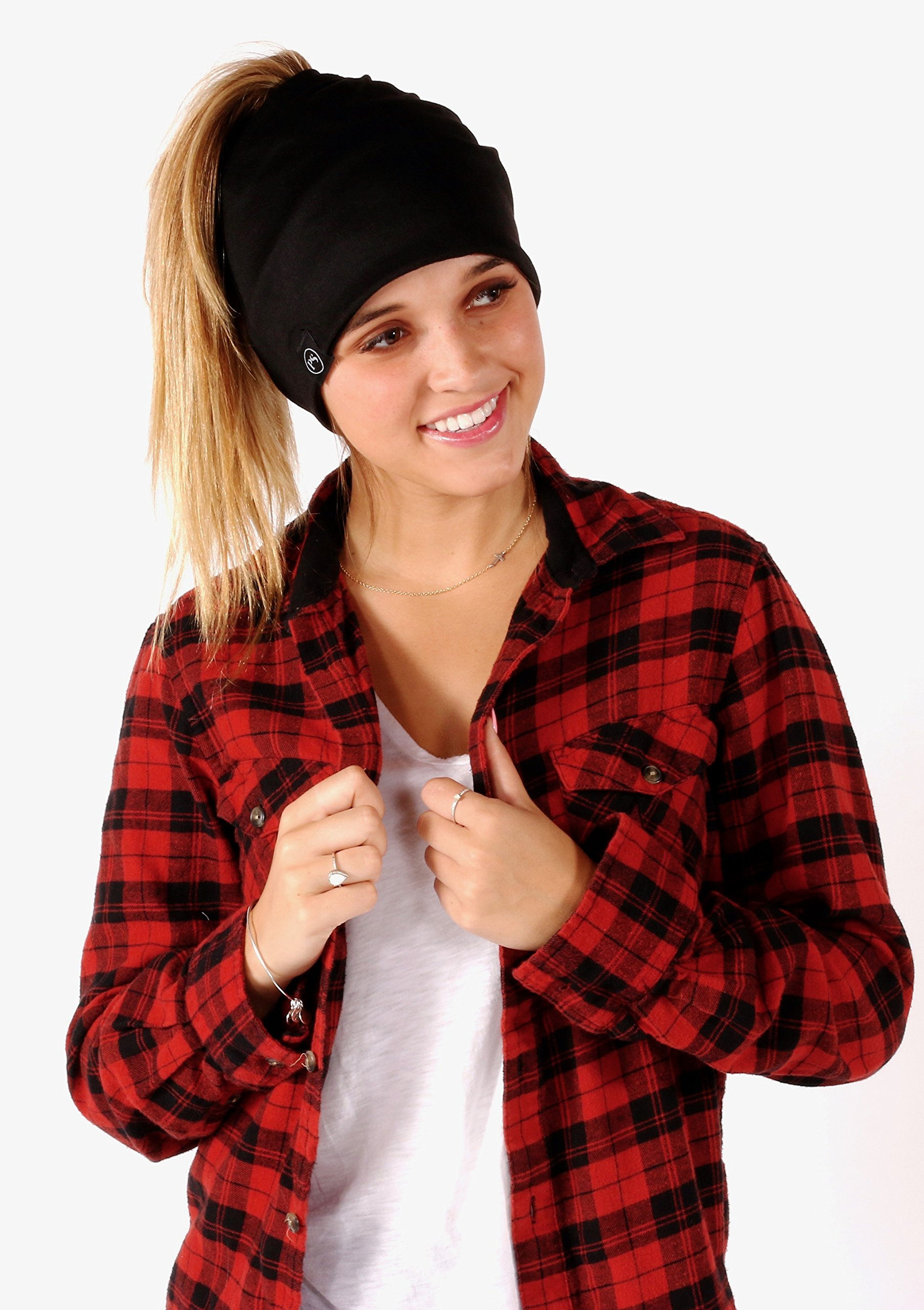 Peek a Boo Women's Beanie Slouchy Beanie with Hole for Pony Tail or Sloppy Bun perfect for Work Out by Pretty Simple (Black) by Pretty Simple (Image #9)