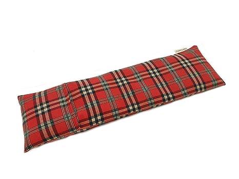 Saco térmico cervical de semillas de trigo y lavanda con funda lavable 50x16cm (Escoces)