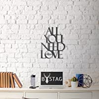 LaModaHome Wall Art Accessori 100% Metallo Spessore 0,3 cm (50 x 39,1 cm) all You Need is Love Accessorio Decorativo Nero Bigstag Elegante Art Home Decor Design Perfetto per casa, Ufficio, Stanza