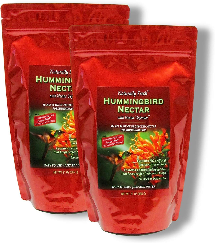 Sapphire Labs Naturally Fresh Hummingbird Nectar with Nectar Defender Lasts Longer in Hummingbird Feeders | Makes 96 oz of Clear Hummingbird Nectar | an Easy Mix Hummingbird Nectar Powder | 2 Pack