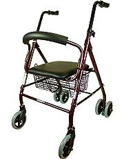 Mobiclinic Andador para Ancianos de 4 Ruedas | Frenos por Presión | Aluminio Ultraligero | Regulable