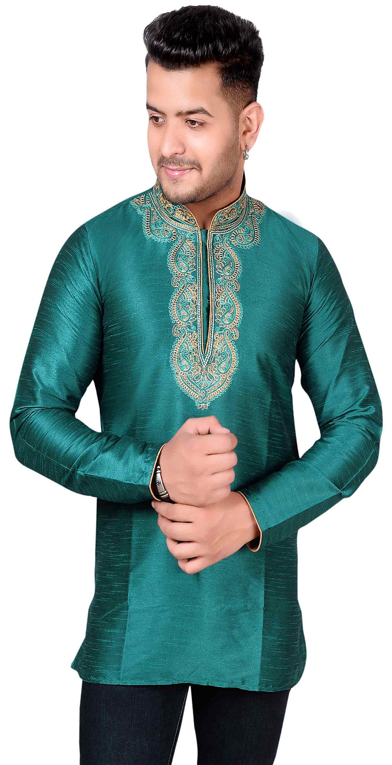 Men's Kurta Bollywood Party Wear Short Shirt 2006 (XXXL (Chest- 46 inches), Teal) by Desi Sarees (Image #1)