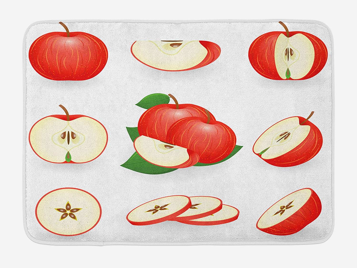 """Ambesonne Sweets Bath Mat, Yummy Chopped Apple Slices Juicy Fresh Fruits Delicious Nature Illustration Print, Plush Bathroom Decor Mat with Non Slip Backing, 29.5"""" X 17.5"""", Scarlet Cream"""