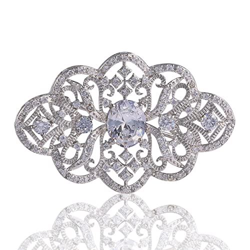 GULICX White Gold Plated Zircon Flower Blossom Diamante Brooch Badge Pin Wedding for Women
