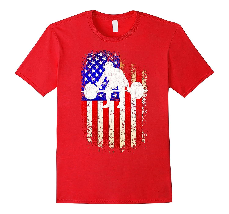 4th of July Weightlifting Shirt Patriotic American Flag Tee-PL
