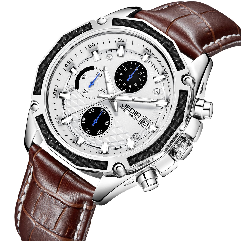 JEDIR Men Chronograph Quartz Wrist Watch Analog Dial with Date Window Soft Brown Leather Band