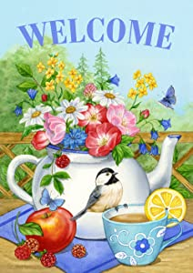 Toland Home Garden Teatime 12.5 x 18 Inch Decorative Spring Summer Welcome Tea Picnic Flower Double Sided Garden Flag