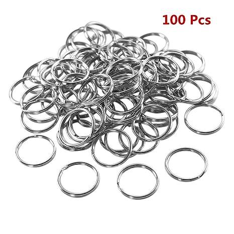 caolator 50 pcs metal puerta llave anillo Keyring Keychain anillo oreja 25 mm accesorios para llaves