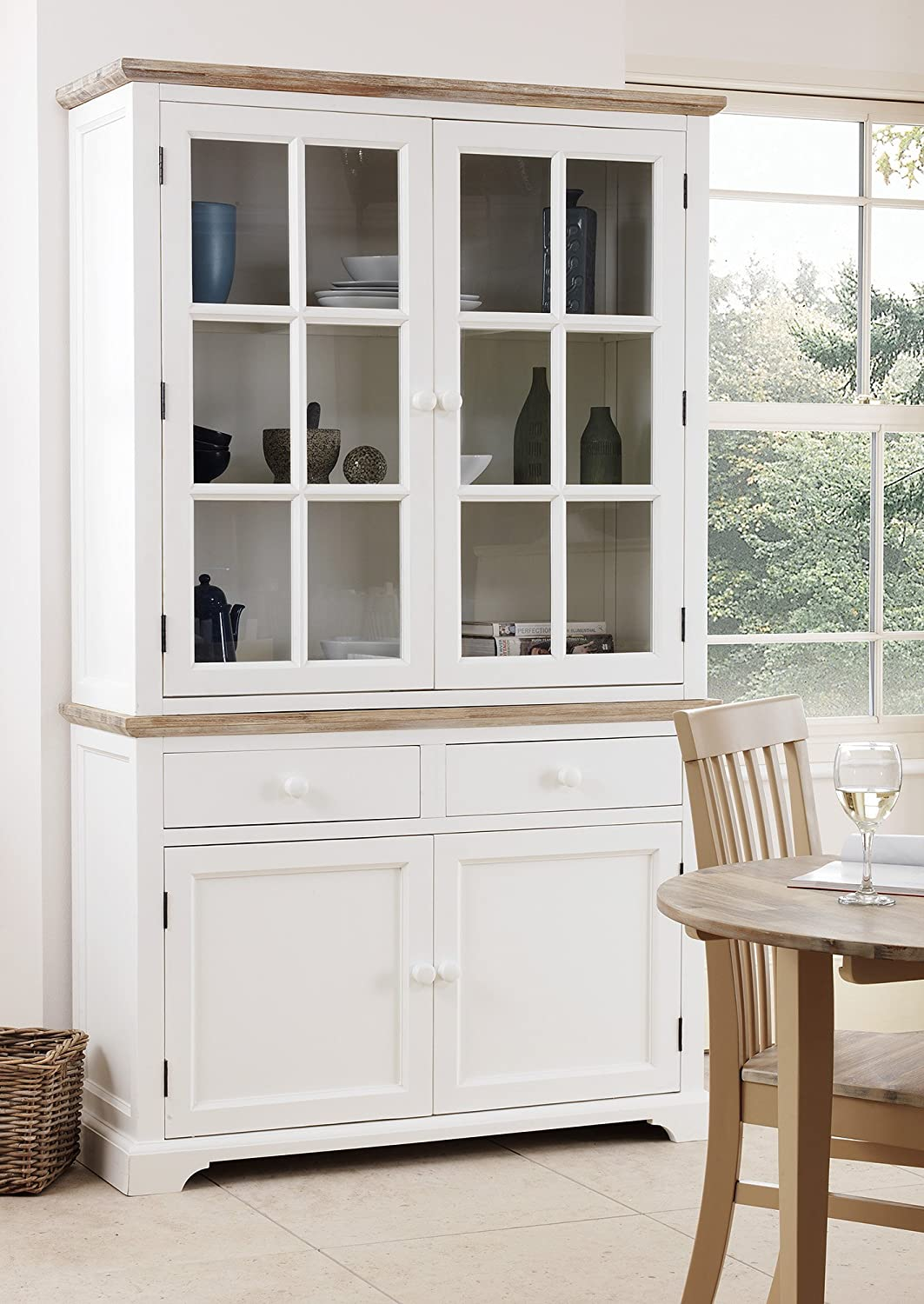 Florence Display Cabinet, Solidly Built White Glass Dresser With 2 Door  Bottom Cupboard With Shelf And 2 Spacious Drawerws. FULLY ASSEMBLED:  Amazon.co.uk: ...
