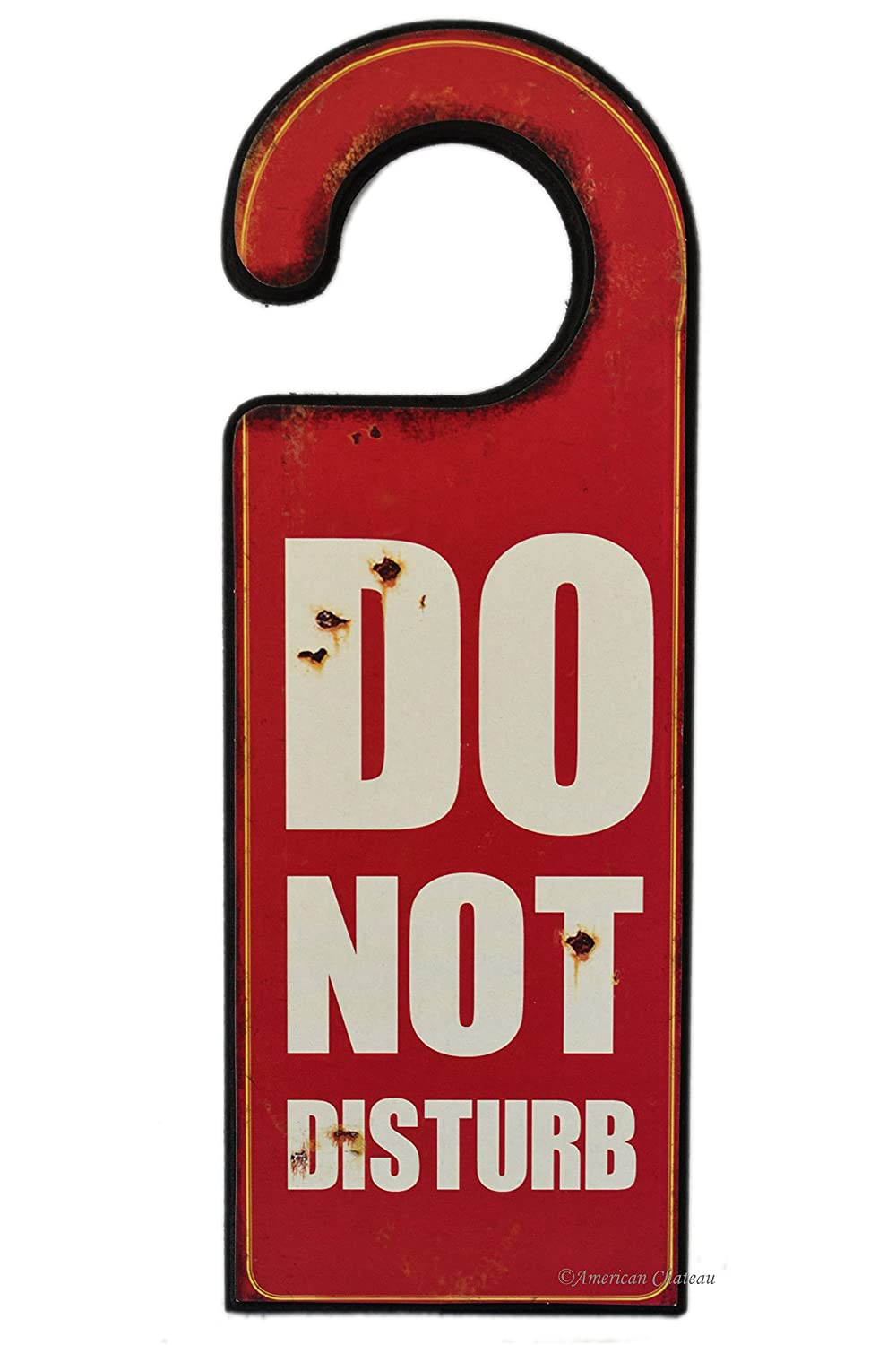 11 Distressed Wood Red Do Not Disturb Door Wall Plaque Sign Knob Hanger American Chateau