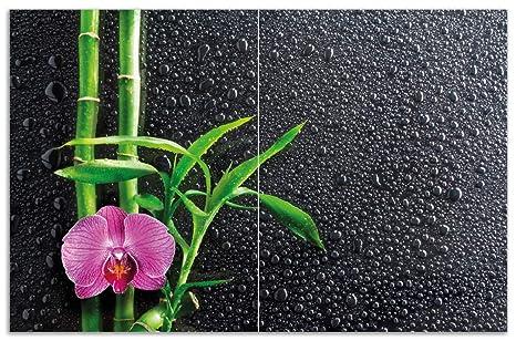 Glas-Herdabdeckplatte Ceranfeldabdeckung Spritzschutz 80x52 Orchidee
