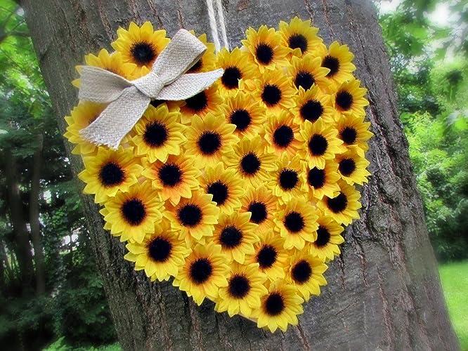 Amazon.com: Sunflower Door Hanger- Floral Heart Wreath for Front ...