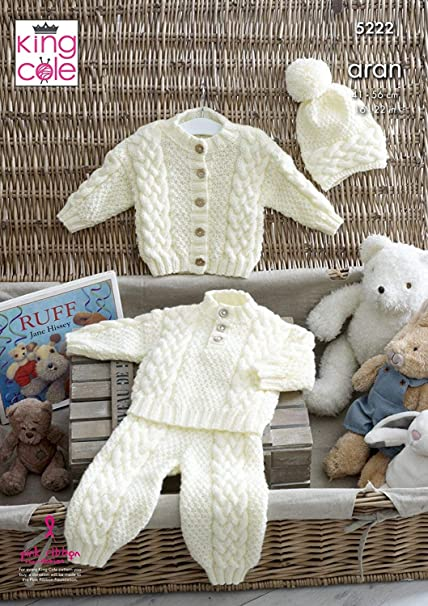 11b854b11 King Cole 5222 Knitting Pattern Baby Sweater Cardigan Trousers and ...