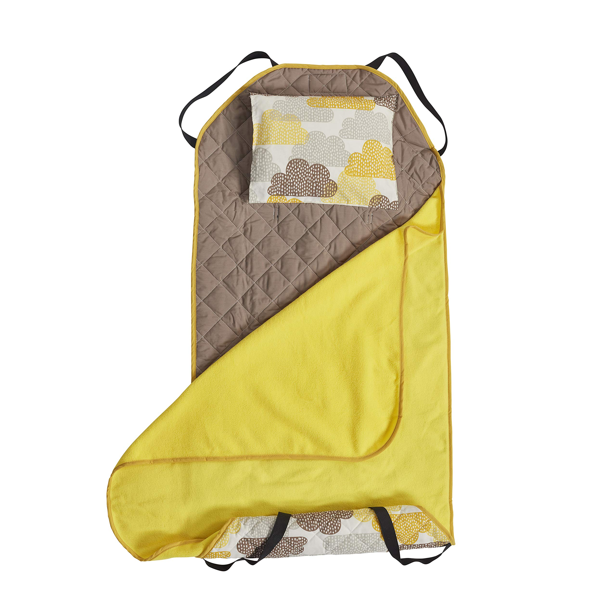 ECR4Kids Toddler Nap Mat Companion - Portable All-in-One Preschool/Daycare Nap Bundle with Built-in Liner, Blanket and Removable Pillow, Honey Clouds Design by ECR4Kids