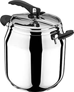 FabHome Korkmaz Gastro 15.5 Quart Stove Top Pressure Cooker Stainless Steel Cookware Induction Compatible, Manual Slow Cooker, Rice Cooker, Steamer, Saute, Yogurt Maker and Warmer