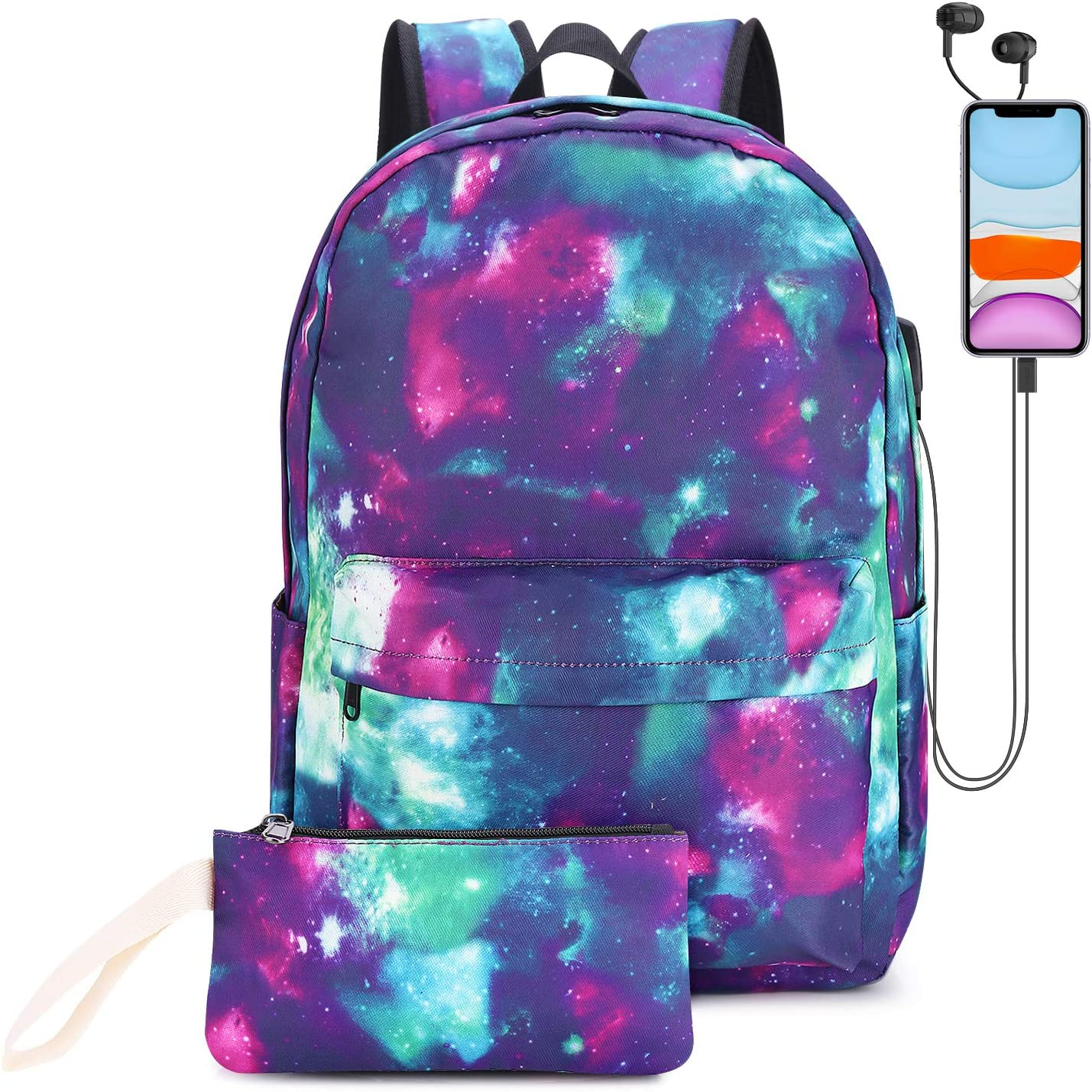EZYCOK Galaxy Canvas Backpack for Women Teen Girls with USB Charging Port College School Backpack with Pencil Pouch, Fits 14