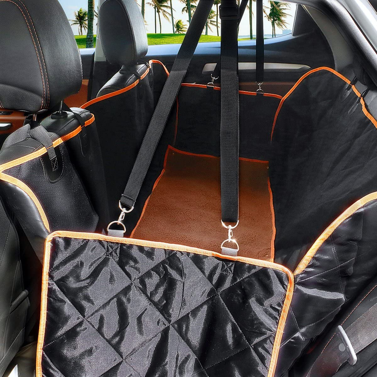 Large Dog Seat Cover With Side Flaps Non Slip Trucks and SUV Hammock Waterproof Pet Back Car Seat Cover With Seat Anchors for Cars Machine Washable Fragralley