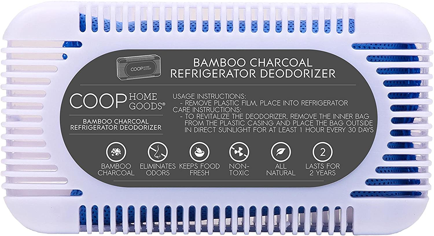 "Coop Home Goods - Refrigerator/Fridge Deodorizer (5"" x 2 3/4"" x 1 3/8"") - Natural Bamboo Activated Charcoal Air Purifier Odor Absorber - Keep Your Fridge Fresh - Reusable for 2 Years - Eco-Friendly"