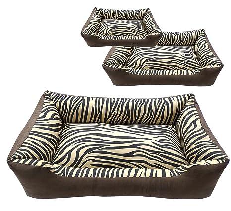Perros sofá marrón, Premium ante animales cama lavable, África el cojín Perros con cebra