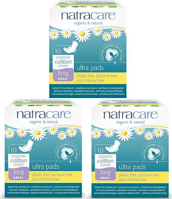Compresas de algodón con alas (3 paquetes) de la marca Natracare ...