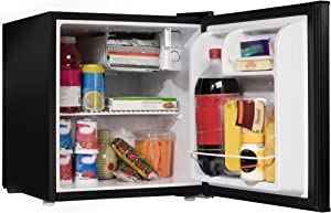 1.7 Cu. Ft. Black Compact Small Single Door Refrigerator Mini Fridge With Internal Freezer Cooler Reversible Door Adjustable Temperature Perfect For Dorm Wet Bars Apartment Condo Office Hotel
