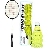 Yonex Nano ray 18I Badminton Racquet (Black, Graphite, G4 - 77g, 30 lbs. Tension) & Mavis 200i Nylon Shuttle Cock, Pack of 6 (Yellow) Combo