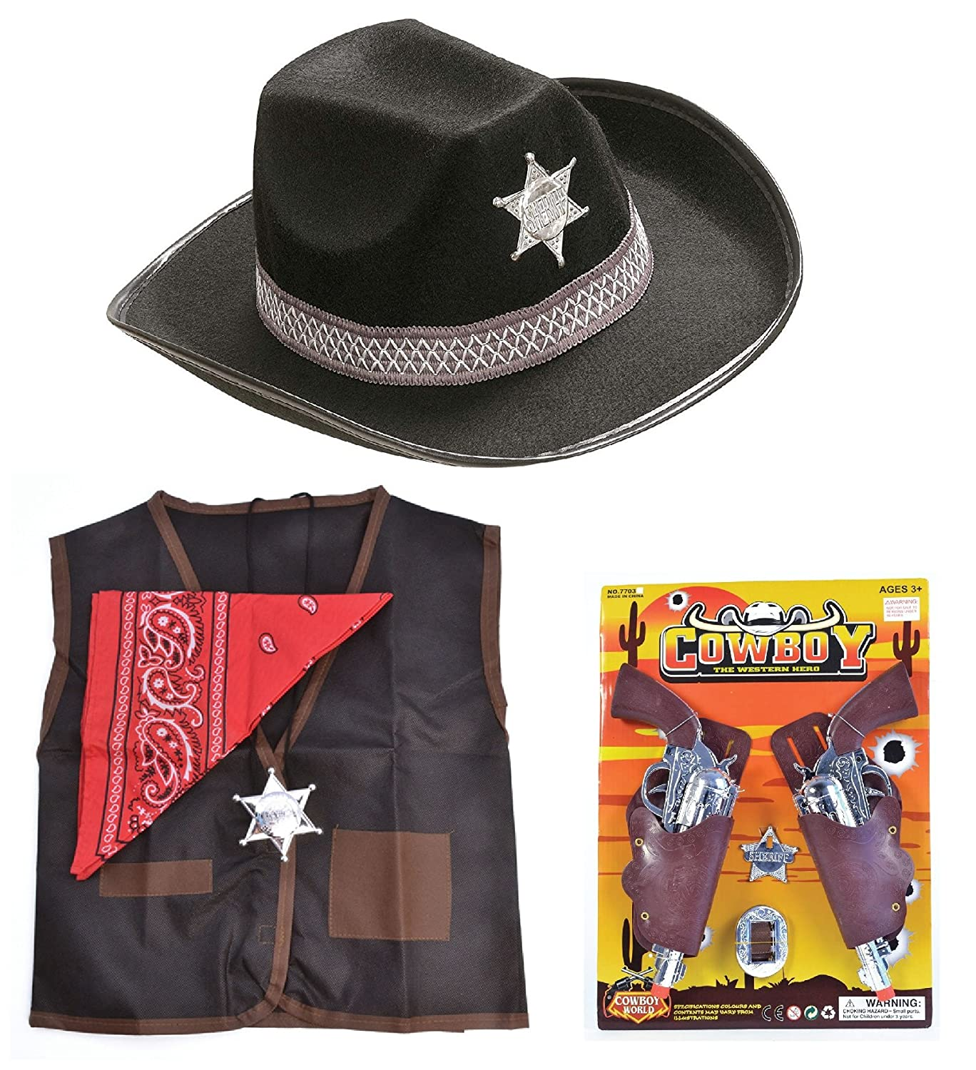 Boys Kids Cowboy Sheriff Western Book Day Fancy Dress Costume Outfit Accessories