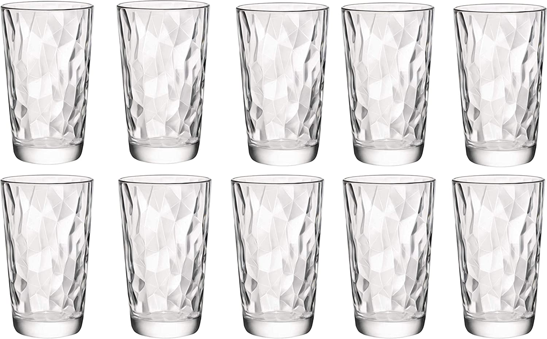 Circleware 40156 Cabrini Set of 10 Highball Tumbler Drinking Glasses Glassware Beverage Ice Tea Cups for Water, Juice, Milk, Beer, 15.7 oz,