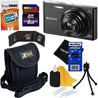 Sony Cyber-shot DSC-W830 20.1 MP Digital Camera with 8x Optical Zoom and Full HD 720p Video (Black) - International Version + 7pc Bundle 8GB Accessory Kit w/ HeroFiber® Ultra Gentle Cleaning Cloth
