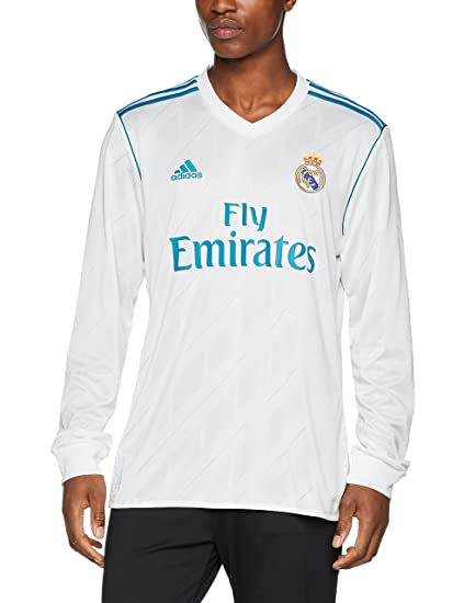buy popular 92c5e a9aec Amazon.com : Real Madrid Home L/S Jersey 2017 / 2018 : Clothing