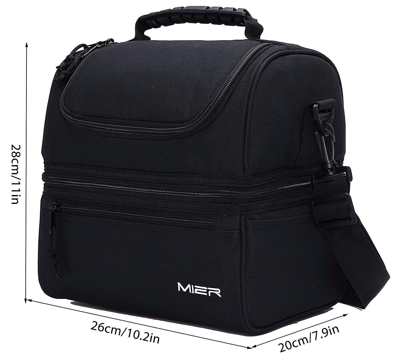d525e9a1301 Amazon.com: MIER Adult Lunch Box Insulated Lunch Bag Large Cooler Tote Bag  for Men, Women, Double Deck Cooler(Black): Kitchen & Dining