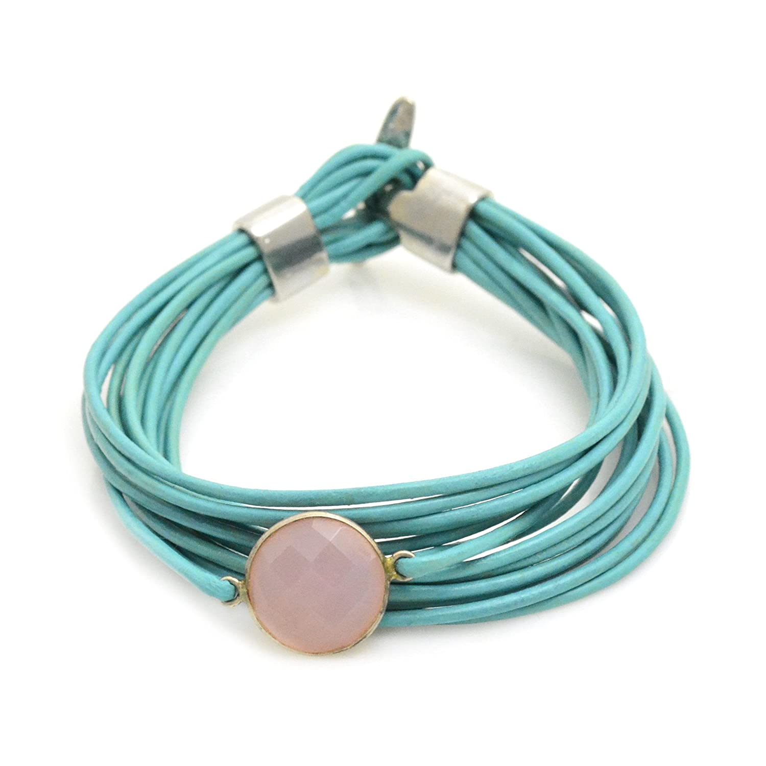 Lisa Robin Jewelry Bezel Faceted Gemstone Leather Bracelet in Teal and Pink Chalcedony