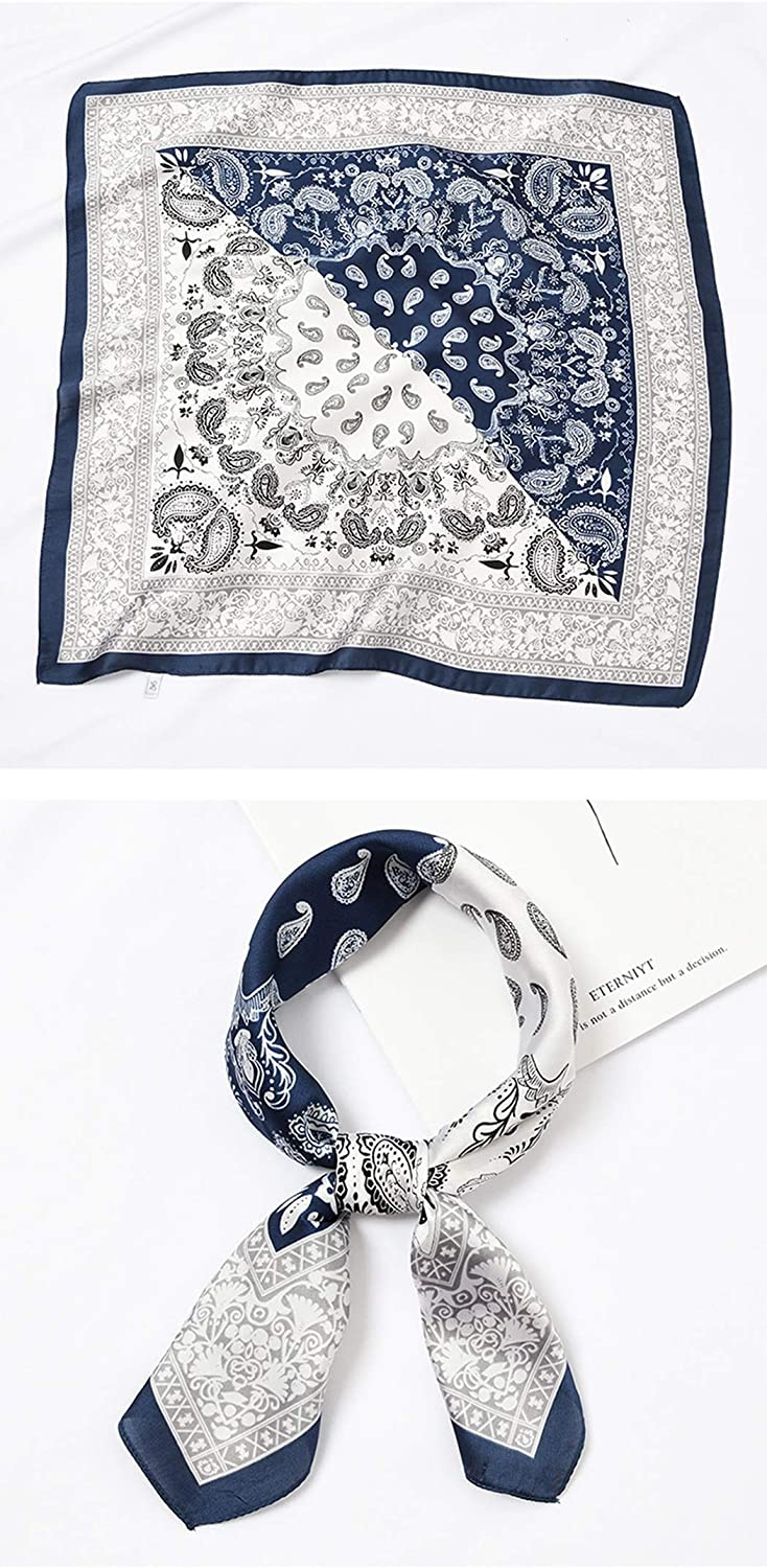 MIOIM Womens Silk Square Scarf Bandana Vintage Patterned Foulard Hair Wraps