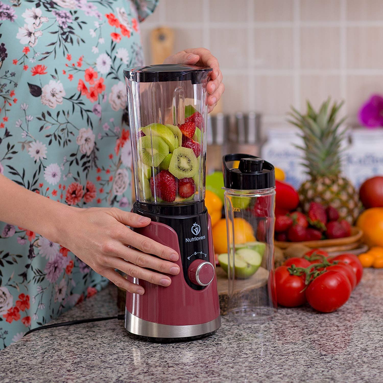 nutril Overs Smoothie maker con botella de beber to go (sin BPA) - Mini de Stand de licuadora, cuchilla de acero inoxidable, hasta 23.000u/min, ...