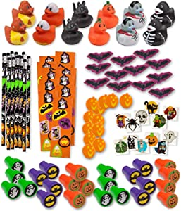 Bulk 336 Halloween Novelty Toys for Kids 24 Rubber Ducks 24 Stampers 24 Pencils 24 Sticker Sheets 96 Mini Erasers 144 Glitter Tattoos Halloween Treats Non Candy Party Favors Goody Fillers Giveaways