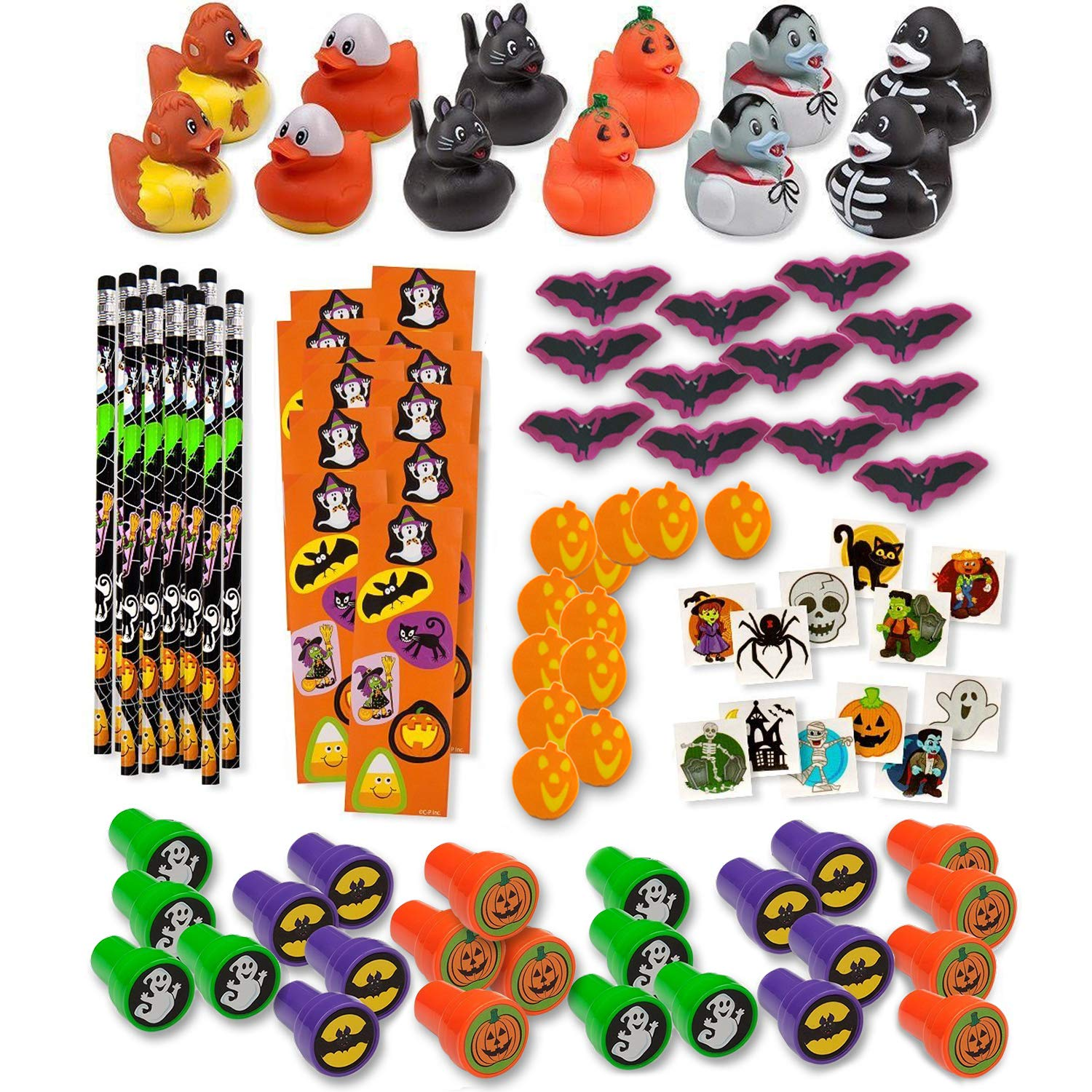 Bulk 336 Halloween Novelty Toys for Kids 24 Rubber Ducks 24 Stampers 24 Pencils 24 Sticker Sheets 96 Mini Erasers 144 Glitter Tattoos Halloween Treats Non Candy Party Favors Goody Fillers Giveaways by Gift Boutique