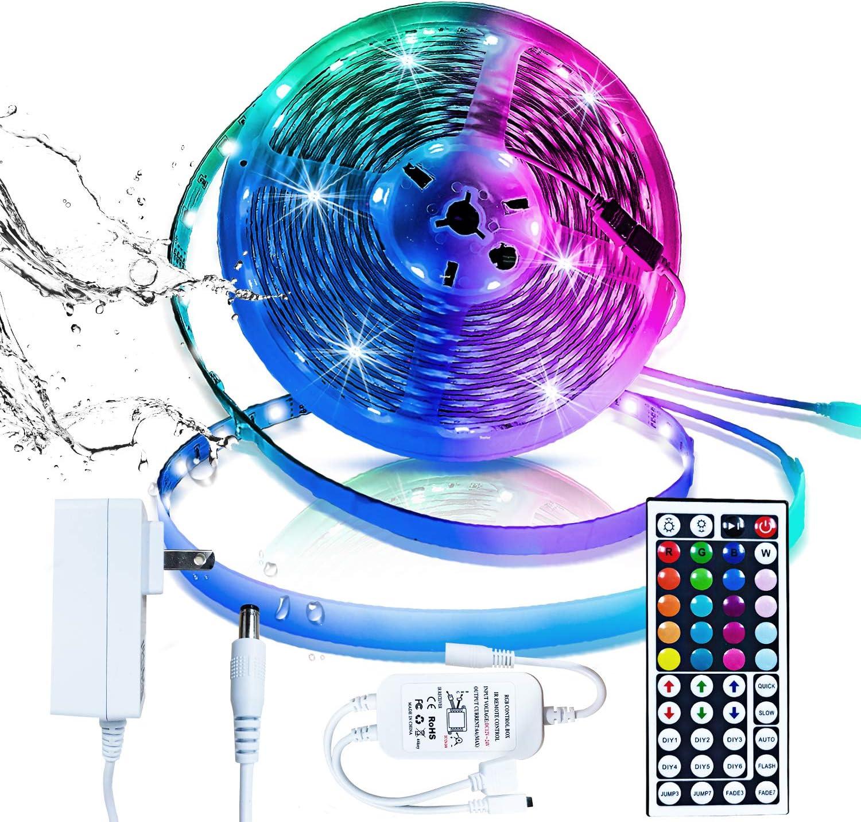 Inscrok 12v Mando de RF-Tira 5m Impermeable 150 Leds 5050 SMD RGB Tiras de LED Kit Completo,