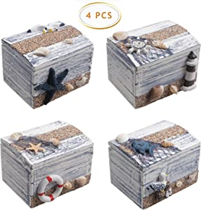 4 PCS Wood Nautical Box Wooden Treasure Chest, Intricate & Meticulous Detailing Art Handcrafted Treasure Chest Trinket Accessory Storage Tabletop Accent Nautical Themed Home Décor, 3X 2.2 Inch