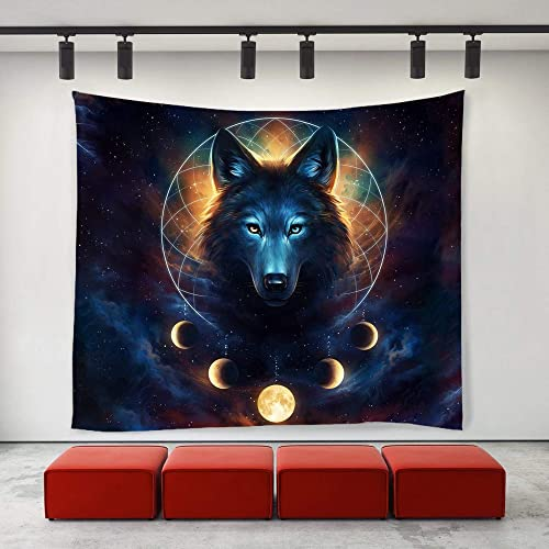 SARA NELL Wall Tapestry Wolf Moon Galaxy Starry Sky Tapestries Hippie Art Wall Hanging Throw Tablecloth 60X90 Inches for Bedroom Living Room Dorm Room