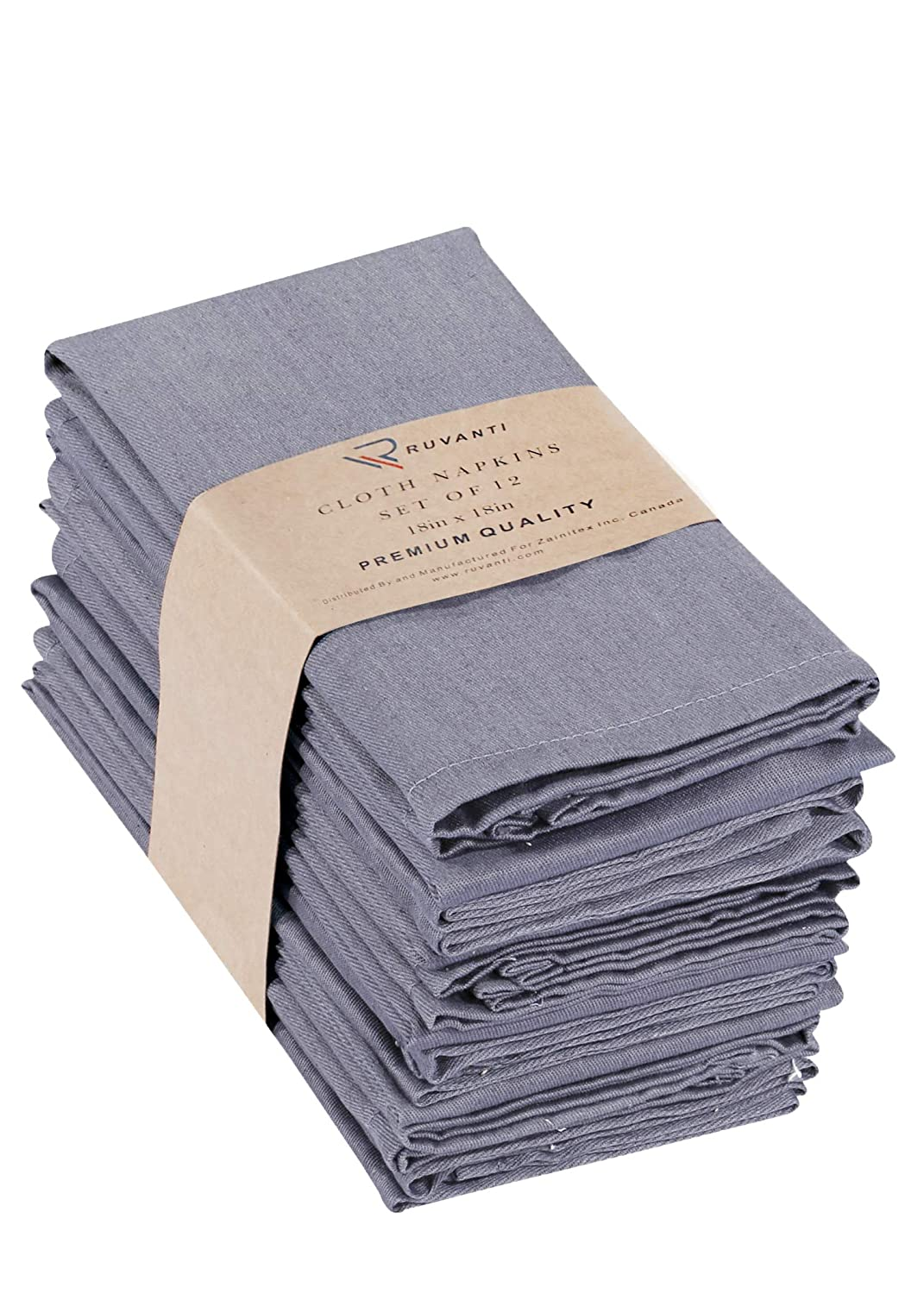 "Ruvanti Cotton Dinner Napkins 12 Pack (18"" X18""), Cloth Napkins Soft and Comfortable Reusable Napkins - Durable Linen Napkins - Perfect Table Napkins/Grey Napkins for Family Dinners, Weddings."