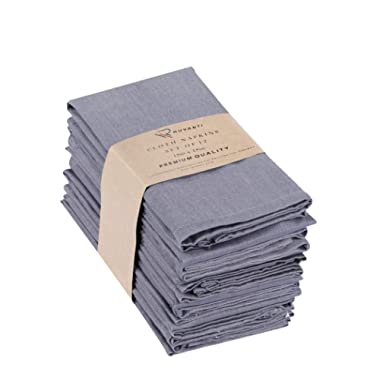 Ruvanti Cotton Dinner Napkins 12 Pack (18  X18 ), Cloth Napkins Soft and Comfortable Reusable Napkins - Durable Linen Napkins - Perfect Table Napkins/Grey Napkins for Family Dinners, Weddings.