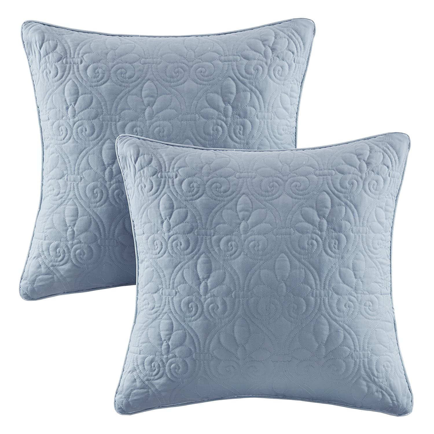 Madison Park Quebec 20x20 Quilted Square Pillow Pair Ivory 20x20 MP30-3406
