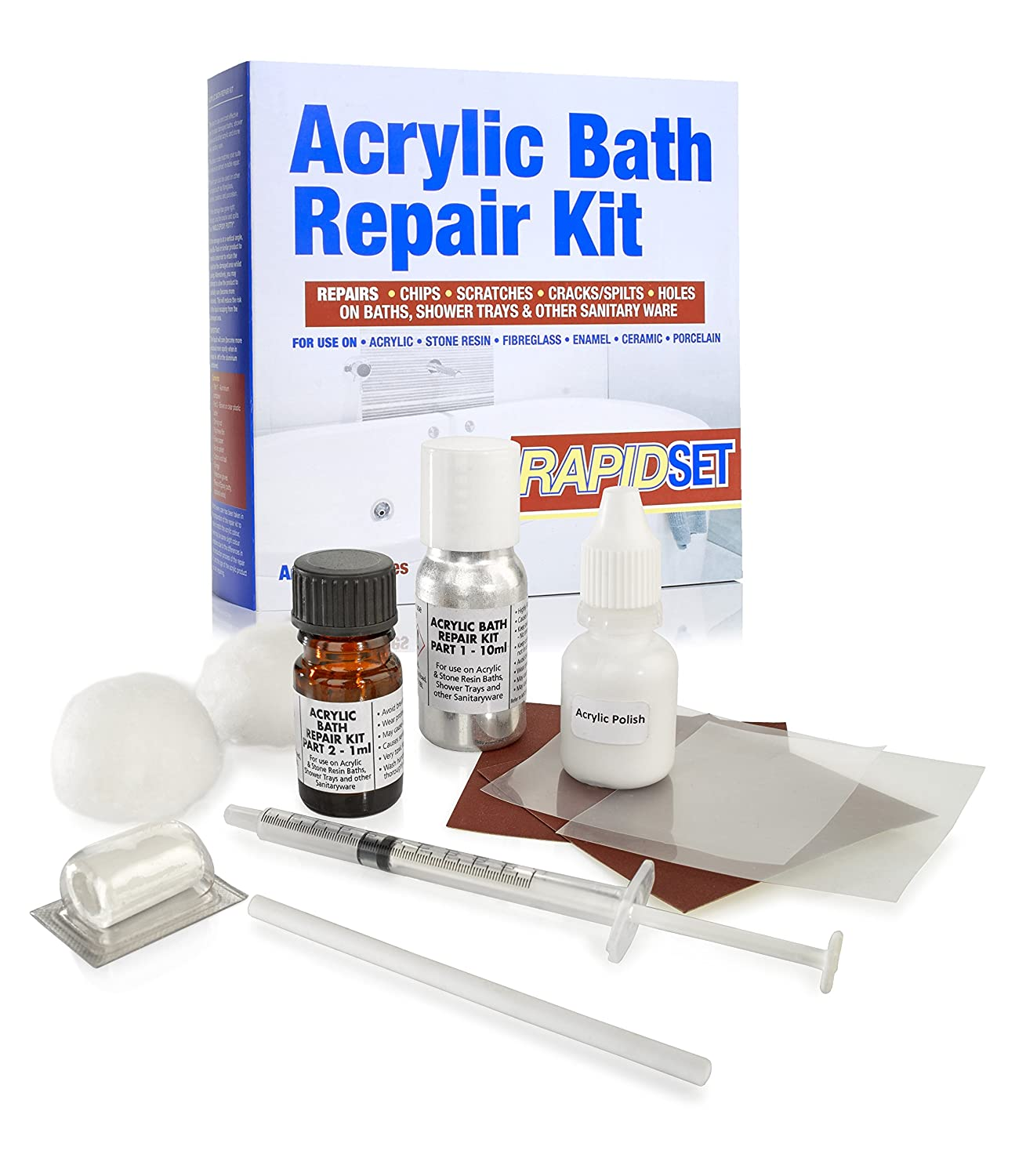 Acrylic Bath Repair Kit Inc Putty   Repairs Cracks, Splits U0026 Leaking  Damages In Baths U0026 Shower Trays   Colour Matched European White.