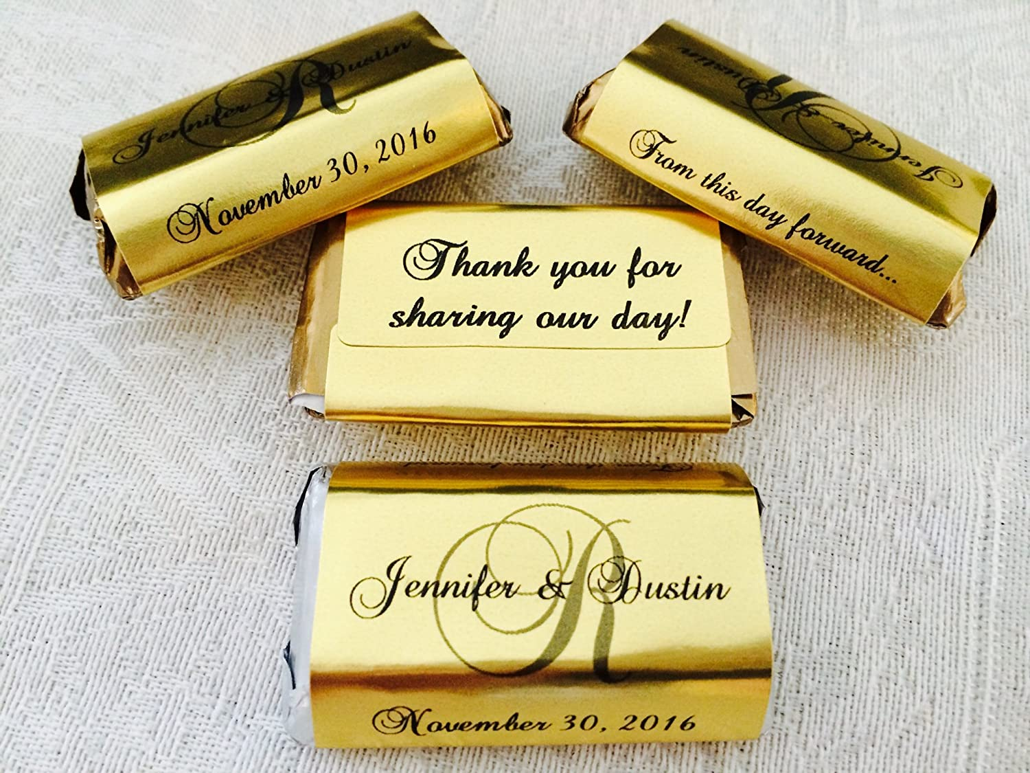 180 GOLD FOIL Monogram Wedding Candy wrappers/stickers/labels for your  HERSHEY MINIATURES chocolate bars (Personalized Favors) for any Party or  Event