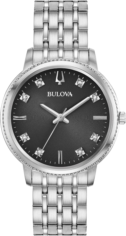 Bulova Reloj Analógico para Mujer de Cuarzo con Correa en Acero Inoxidable 96P205