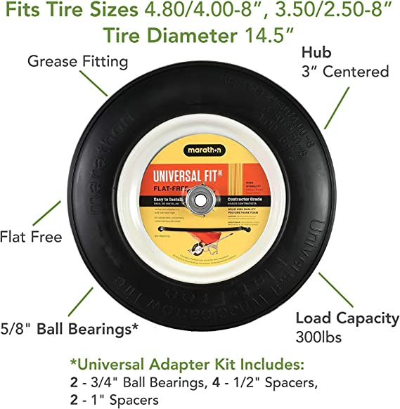 Universal Fit Renewed Flat Free Wheelbarrow Tire and Wheel Assembly with Adapter Kit
